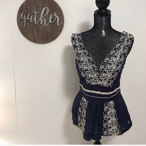 Anthro Floreat embroidered floral peplum tank top